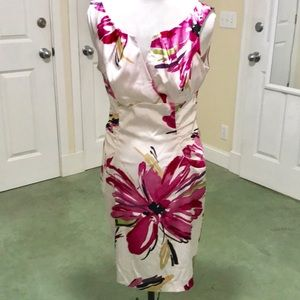 Dress Barn Collection White Silky Floral Dress